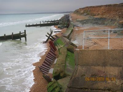 Failing sea wall at Westover, Milford on Sea before urgent work