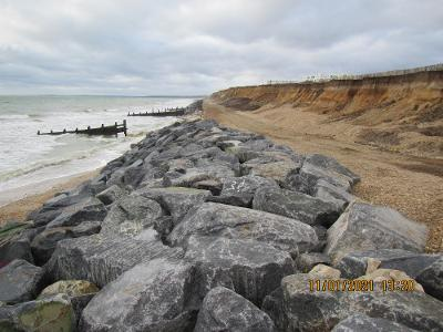 Granite barrier constructed as urgent sea defence at Westover, Milford on Sea