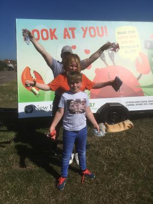 Pictured from back to front Miles, Ruby (13) and Fraser (10) at Crabby billboard Barton on Sea in Summer 2020